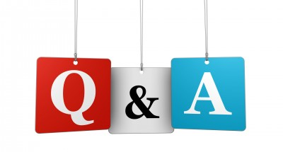 Questions and answers web and Internet concept with q and a letters and sign on hanged tags isolated on white background.